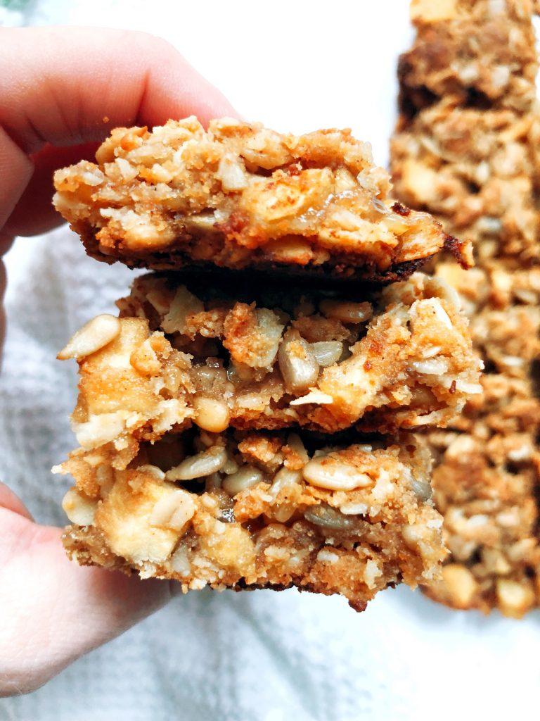 Cinnamon Apple Tahini Crumble Bars