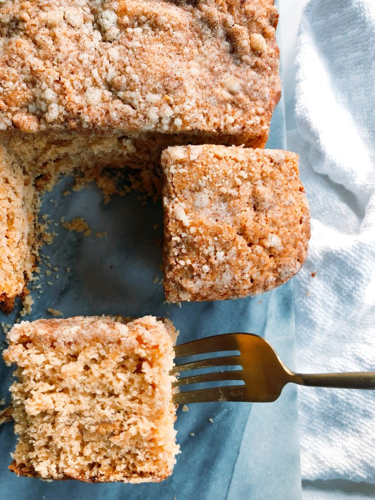 Apple Spiced Coffee Cake with Cashew Butter Ribbon
