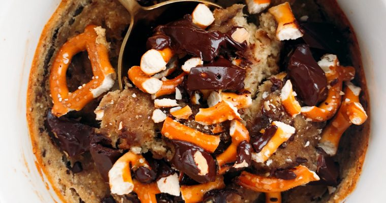 Tahini Pretzel Chocolate Mug Cake