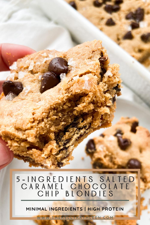 5-Ingredient Salted Caramel Chocolate Chip Blondies