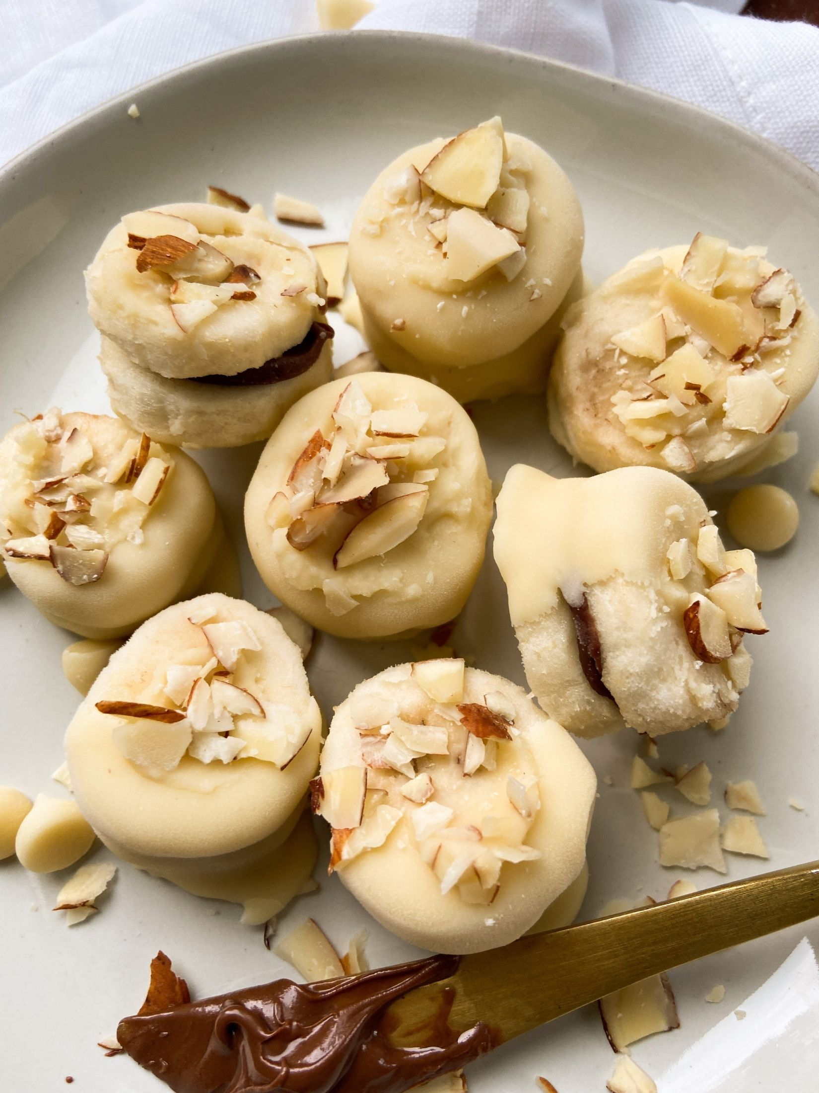 Chocolate Tahini White Choco Covered Banana Bites Feature